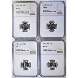 4 - 1965 SMS ROOSEVELT DIMES NGC