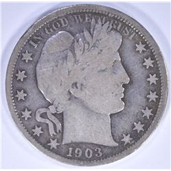 1903-S BARBER HALF DOLLAR, FINE