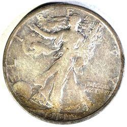 1919-S WALKING LIBERTY HALF DOLLAR, VF SCARCE!!