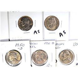 JEFFERSON NICKELS: 2-1939-D, GEM BU & 3-50-D GEM