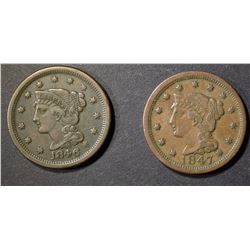 1846 & 1847 LARGE CENT  XF