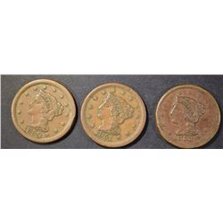 1850, 1851, 1853 LARGE CENTS  VF/VF+