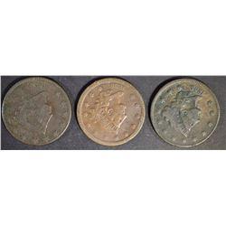 1830 F, 1835 F+, 1838 F+ LARGE CENTS