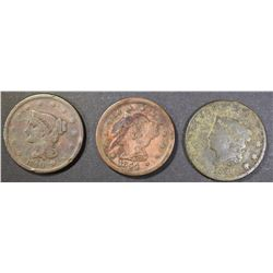 1840 F, 1844 VF+ STAINED, 1828 G ROUGH LARGE CENTS