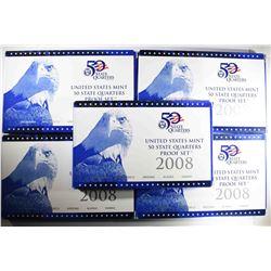 (5) 2008 US Mint Proof Quarter Sets.
