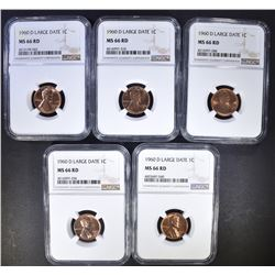 5 1960-D LG DATE LINCOLN CENTS NGC MS-66 RD