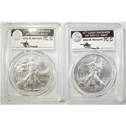 (2) 2016 30TH ANN. ASE  PCGS MS-70 MERCANTI SIGNED