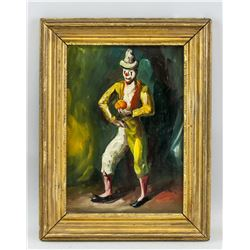 Spanish Portrait of Clown Oil on Panel Framed