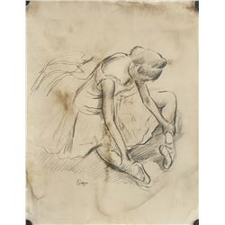 Style of Edgar Degas French Impressionist Graphite
