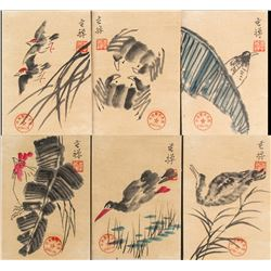 Li Kuchan 1899-1983 Chinese Watercolor Bird Set
