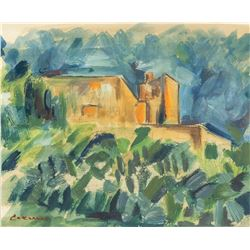 Style of Paul Cezanne French Impressionist Tempera