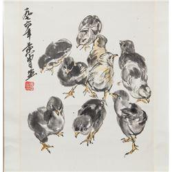 Huang Zhou 1925-1997 Chinese Watercolor Chicken