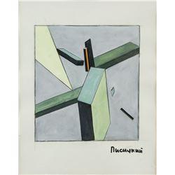 El Lissitzky Russian Suprematist Mixed Media Paper