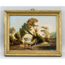 Oil on Canvas XVIII / XIV Landscape Scene Donkey