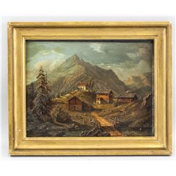Oil on Board Unsigned XIX Landscape Painting