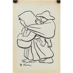 Diego Rivera Mexican Post Impressionist Ink
