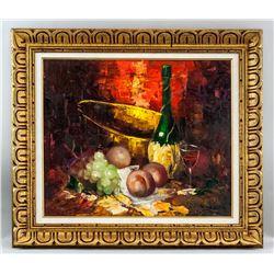 Oil on Canvas Still Life Signed
