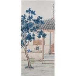 Zhen Mukang 1901-1982 Chinese Watercolor Courtyard