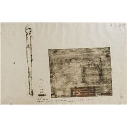 Oil Stick Monotype on Paper Unsigned