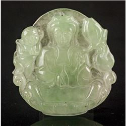Chinese Grade A Jadeite Guanyin Pendant w/Cert