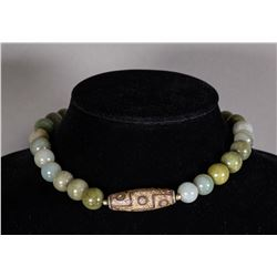 Chinese Jadeite Beads with Tianzhu Bead Necklace