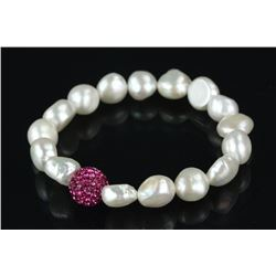 Pearl and Cubic Crystal Bracelet