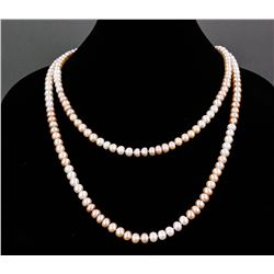 Chinese White and Pink Pearl Necklace