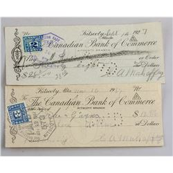 1927 & 1937 Canadian Bank of Commerce Cheque 2 PC