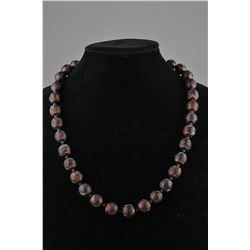 Chinese Cinnabar Lacquer Carved Shou Bead Necklace