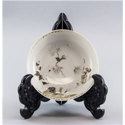 1750s Chinese Nanking Cargo Porcelain Bowl w/ Tag