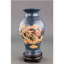 Chinese Blue Zisha Dragon Vase with Wood Stand