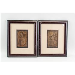 Framed Pair of Chinese Camphor Wood Carved Panels
