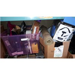 2 TOTES OF CAR PARTS AND BOX OF CAR COVER ETC