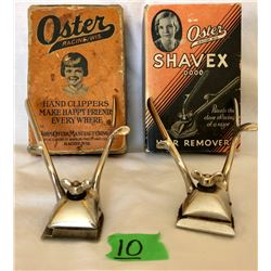 GR OF 2, VINTAGE 1940'S OSTER HAIR CLIPPERS WITH ORIGINAL BOX