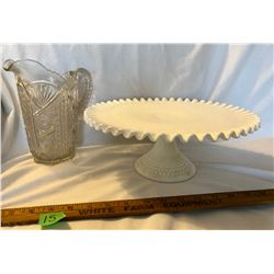 GR OF 2, MILK GLASS CAKE PLATE & 1880'S CUT GLASS PITCHER