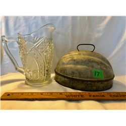 GR OF 2, VINTAGE TIN JELLO MOLD & 1880'S CUT GLASS JUG