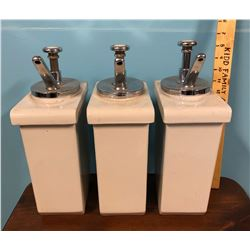 SET OF 3 VINTAGE PORCELAIN SYRUP DISPENSERS