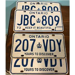 2 PAIRS OF ONTARIO LICENCE PLATES, 1973 & OLDER