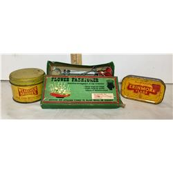 GR OF 3, WEAR EVER TIN, MURRAY'S TOBACCO TIN & VINTAGE FLOWER FASHIONER KIT