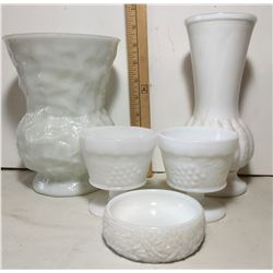 GR OF 5 MILK GLASS ITEMS, VASES, SOAP-DISH
