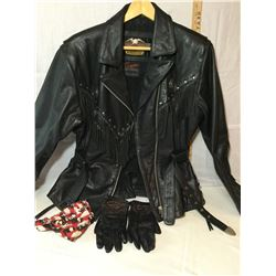 LADIES LARGE LEATHER HARLEY DAVIDSON JACKET WITH MATCHING GLOVES - EXCELLENT