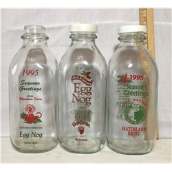 GR OF 3 1995 EGGNOG BOTTLES, HATCHLAND DAIRY & MOUNTAIN DAIRY
