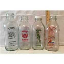"""GR OF 4, ONE QT SIZE MILK BOTTLES. """"D"""" DUTCHMAN DAIRY, HAWAII'S DIARY, MONROE DAIRY, MOUNTAIN DAIRY"""