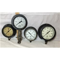 GR OF 4 GAUGES. ASHCROFT - SWEDEN. WINTERS THERMOGAUGES - TORONTO. KUNKLE - FT WAYNE