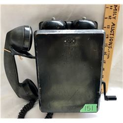 ANTIQUE WOOD PAINTED WALL PHONE WITH WORKING PARTS