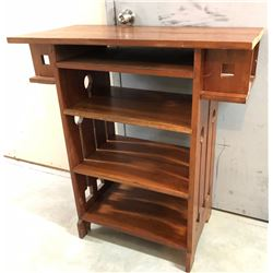 """WOOD SHELF STAINED DEEP RED - 39"""" H x 36"""" L x 18"""" W"""