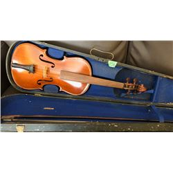 ANTIQUE VIOLIN WITH AUBERT BRIDGE - GERMANY AND HARD CASE