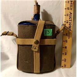 WWI COBALT BLUE ENAMEL CANTEEN WITH MATERIAL COVER & CORK