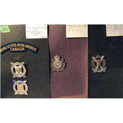 GR OF 4, 1871 CAPE BRETON HIGHLANDERS PIN. 1872 NEW BRUNSWICK SCOTTISH. 1954 NS HIGHLANDERS