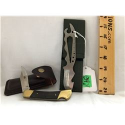 GR OF 2, STAINLESS STEEL POCKET KNIVES. NEW - TAIWAN